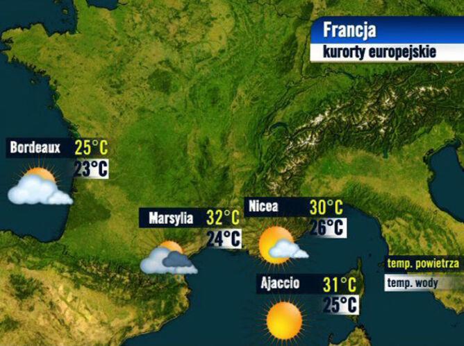 Prognoza pogody dla kurortów we Francji, 24.08