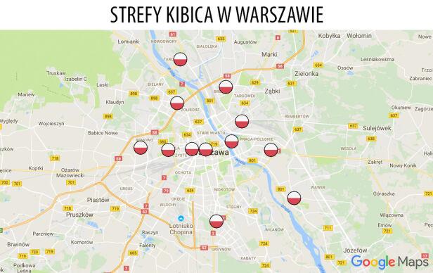 Strefy kibica w Warszawie Mapy Google