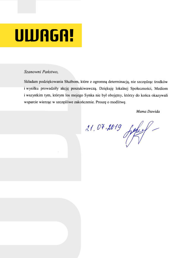 Oświadczenie matki Dawida UWAGA! TVN