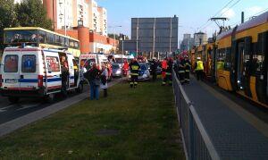 9 osób rannych w zderzeniu trzech tramwajów