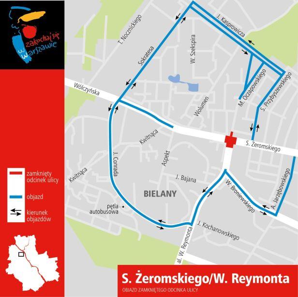 Proponowane objazdy zamkniętego skrzyżowania UM Warszawa