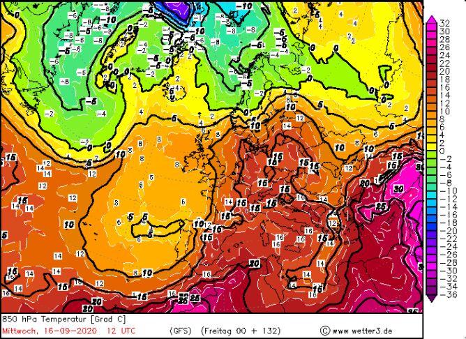 Temperatura na wysokości 1,5 km (850 hPa) (wetter3.de)