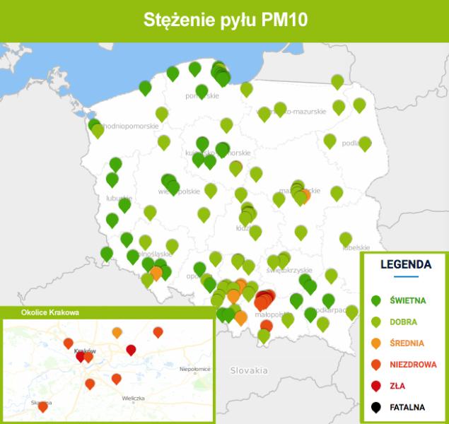 Stężenie pyłu PM10 o godz. 9.30