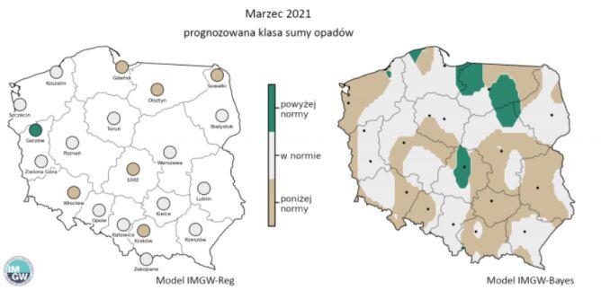 Prognozowana klasa miesięcznej sumy opadów w marcu 2021 r. według modelu IMGW-Reg i IMGW-Bayes (IMGW)