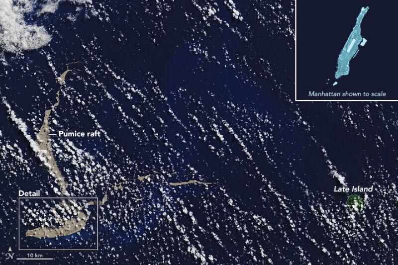 Tak wygląda pumeks w porównaniu z wielkością Manhattanu (NASA Earth Observatory/Joshua Steven/Landsat/U.S. Geological Survey/Michael Carlowicz)