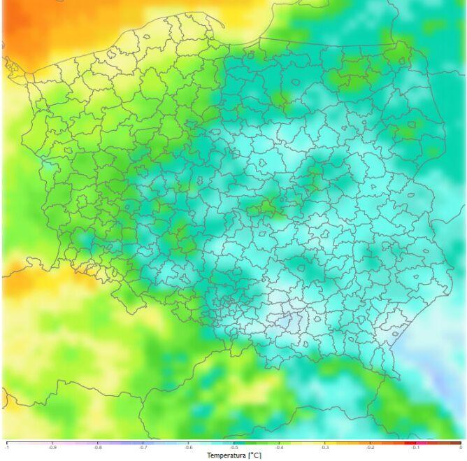 Porównanie średniej dobowej temperatury zimą dla dekady 2021-2030 do dekady 2011-2020 według scenariusza RCP8.5 (klimada2.ios.gov.pl)