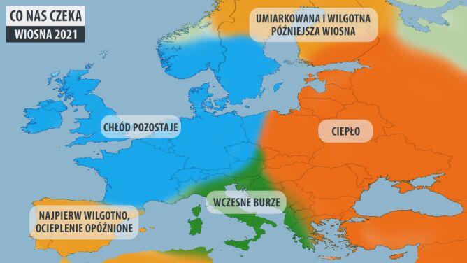Wstępna prognoza pogody meteorologów AccuWeather na wiosnę w Europie